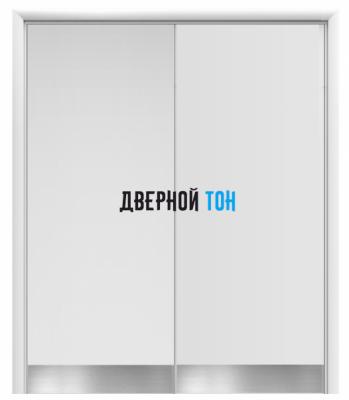 Маятниковая двухстворчатая гладкая композитная белая дверь Aquadoor с отбойными пластинами на уровне ног