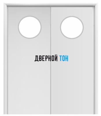 Маятниковая двухстворчатая гладкая композитная белая дверь Aquadoor с иллюминатором