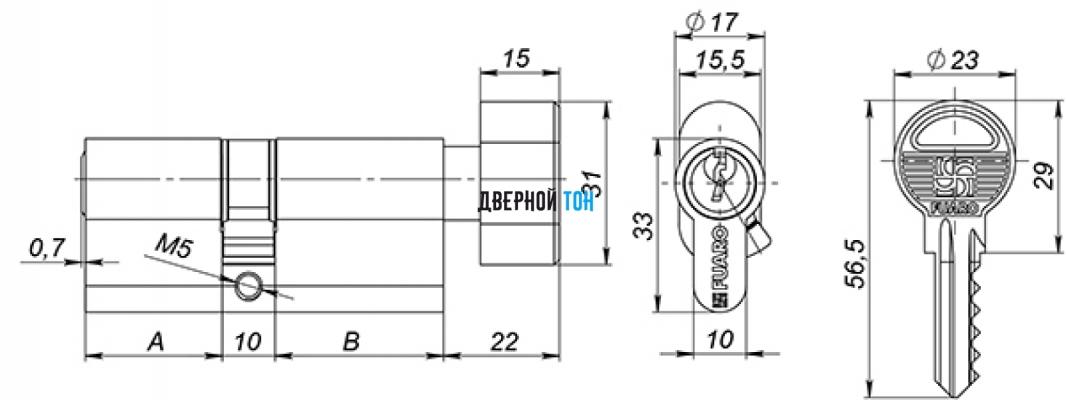 Цилиндр для противопожарных дверей сечение 45х45 ключ/поворотник чертеж