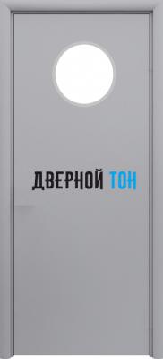 Маятниковая гладкая композитная серая дверь Aquadoor с иллюминатором