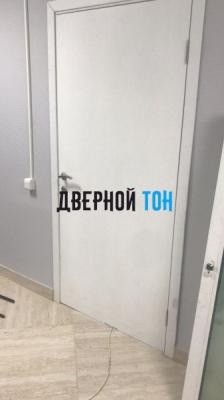 Гладкая шпонированная дверь снежный дуб