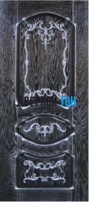 Филенчатая шпонированная дверь QP-1 ДГ Эмаль белая, черная/ патина