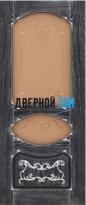 Филенчатая шпонированная дверь QP-1 ДО Эмаль белая, черная/ патина