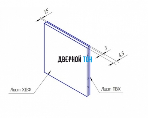 Добор для F-образного наличника пластиковый вспененный ПВХ моноколор 150 мм чертеж