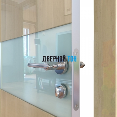 Гладкая дверь модель ДГ 501 глянец с алюминиевым торцом анегри светлый стекло белое