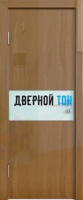Гладкая дверь модель ДГ 501 глянец с алюминиевым торцом анегри темный стекло белое