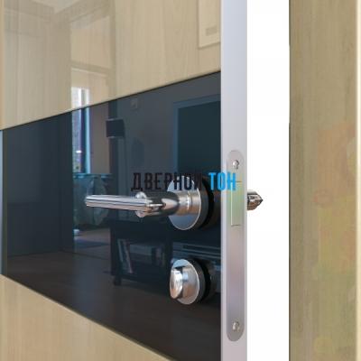 Гладкая дверь модель ДГ 501 глянец с алюминиевым торцом анегри светлый стекло черное