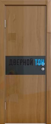 Гладкая дверь модель ДГ 501 глянец с алюминиевым торцом анегри темный стекло черное