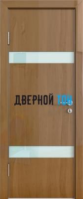 Гладкая дверь модель ДГ 502 глянец с алюминиевым торцом анегри темный стекло белое