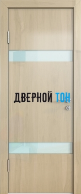 Гладкая дверь модель ДГ 502 глянец с алюминиевым торцом анегри светлый стекло белое