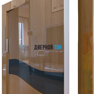 Гладкая дверь модель ДГ 503 глянец с алюминиевым торцом анегри темный стекло черное