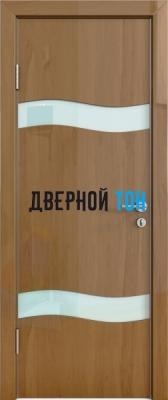 Гладкая дверь модель ДГ 503 глянец с алюминиевым торцом анегри темный стекло белое