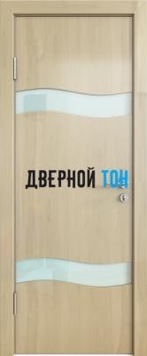 Гладкая дверь модель ДГ 503 глянец с алюминиевым торцом анегри светлый стекло белое