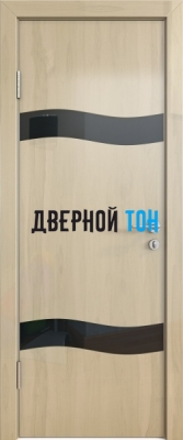 Гладкая дверь модель ДГ 503 глянец с алюминиевым торцом анегри светлый стекло черное