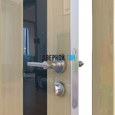 Гладкая дверь модель ДГ 504 глянец с алюминиевым торцом анегри светлый стекло черное