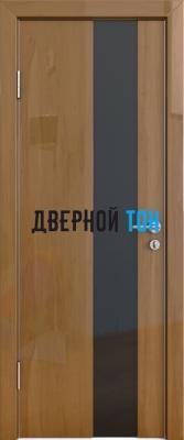 Гладкая дверь модель ДГ 504 глянец с алюминиевым торцом анегри темный стекло черное