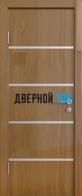Гладкая дверь модель ДГ 505 глянец с алюминиевым торцом анегри темный