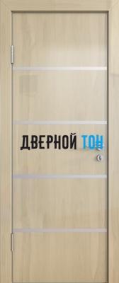 Гладкая дверь модель ДГ 505 глянец с алюминиевым торцом анегри светлый