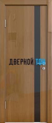Гладкая дверь модель ДГ 507 глянец с алюминиевым торцом анегри темный стекло черное