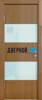 Гладкая дверь модель ДГ 508 глянец с алюминиевым торцом анегри темный стекло белое