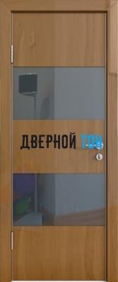 Гладкая дверь модель ДГ 508 глянец с алюминиевым торцом анегри темный стекло черное