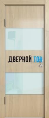 Гладкая дверь модель ДГ 508 глянец с алюминиевым торцом анегри светлый стекло белое