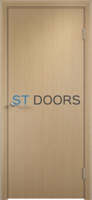 Гладкая ламинированная дверь с четвертью Беленый дуб
