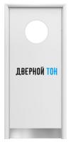 Маятниковая гладкая композитная белая дверь Aquadoor с иллюминатором и отбойной пластиной