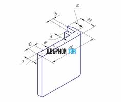 Наличник F-образный пластиковый вспененный ПВХ моноколор чертеж