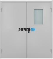 Металлическая двухстворчатая остекленная противопожарная дверь Ei 60 RAL 7035