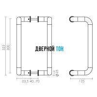 Ручка-скоба PH-25-25/300-INOX Fuaro чертеж