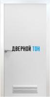 Пластиковая гладкая белая дверь Aquadoor с металлической коробкой с вентиляционной решеткой