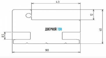 Дверная коробка 90 мм для пластиковых одностворчатых дверей Aquadoor чертеж