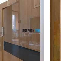 Гладкая дверь модель ДГ 502 глянец с алюминиевым торцом анегри темный стекло черное