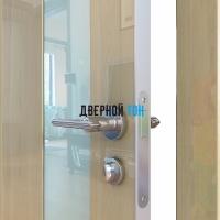 Гладкая дверь модель ДГ 504 глянец с алюминиевым торцом анегри светлый стекло белое