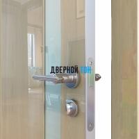 Гладкая дверь модель ДГ 507 глянец с алюминиевым торцом анегри светлый стекло белое