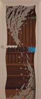 Дверь для сауны стекло бронза волна Miracle