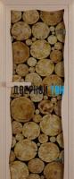 Дверь для сауны стекло бронза с фотопечатью поленница Miracle