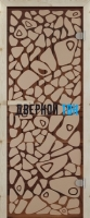 Дверь для сауны стекло бронза с рисунком морское дно СТАНДАРТ