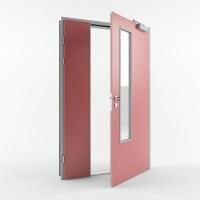 Комбинированная противопожарная дверь с пределом огнестойкости EI30 (Тип PP30) полуторная остекленная