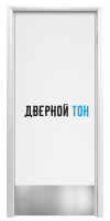 Маятниковая гладкая композитная белая дверь Aquadoor с отбойной пластиной