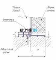 Алюминиевый порог для одностворчатых дверей 88 мм чертеж