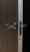 Гладкая дверь Капель с поперечным экошпоном серия ECO (телескопическая коробка) торец алюминиевый
