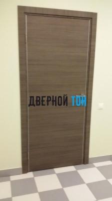 Гладкая дверь Капель с поперечным экошпоном серия ECO (телескопическая коробка) неаполь серый